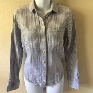 MADEWELL STRIPE TIE BACK BUTTON DOWN TOP